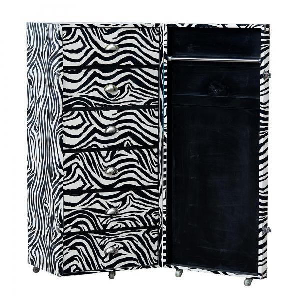 Grand Safari Zebra Luggage Trunk - Black and White