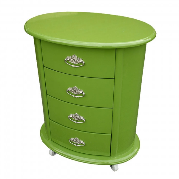High Gloss Bedside Table - Green