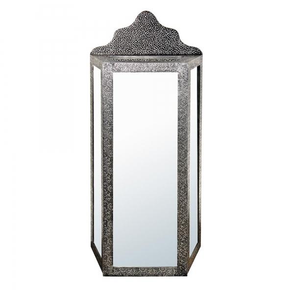 Chaandhi Kar Metal Embossed Mirrored Cabinet - Blackened Silver