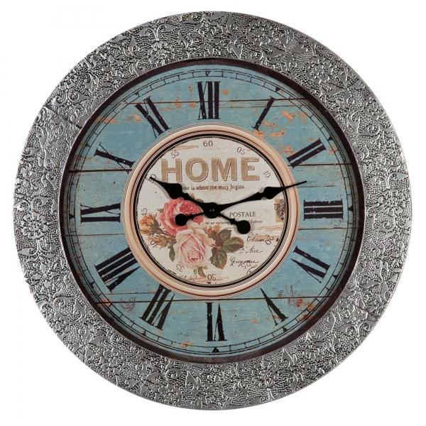 Chaandhi Kar Metal Blackened Silver Embossed Large Wall Clock