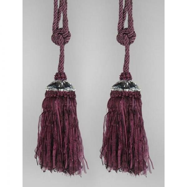 Purple Tassel with Crystal - pair