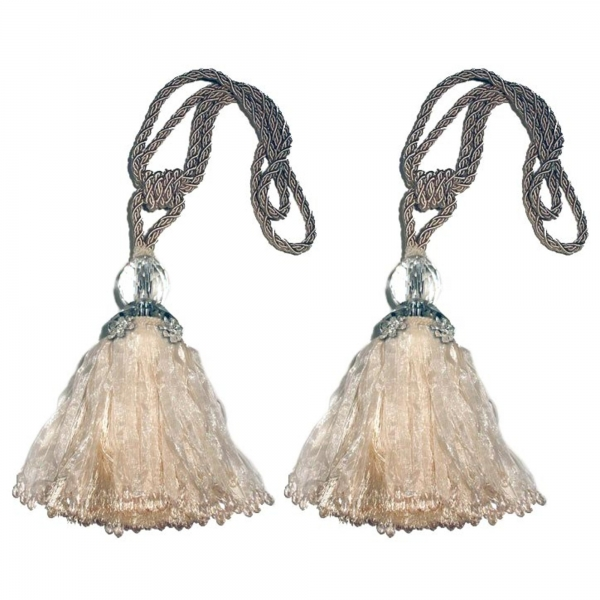 Cream Tassel with Crystal, Beads & Flower Crystals - pair