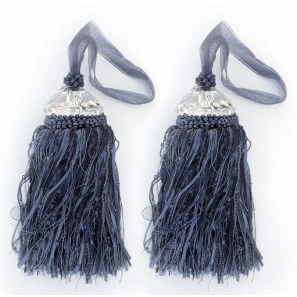 Blue Tassel with Crystal - pair