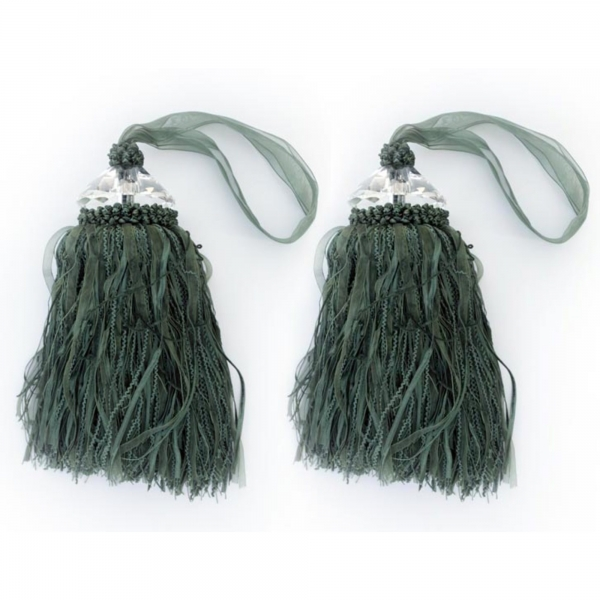 Green Tassle with Crystal - pair