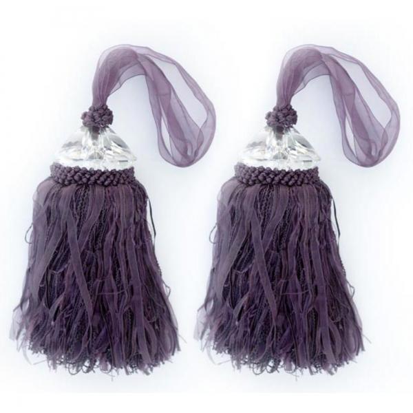 Purple Tassle with Crystal - pair