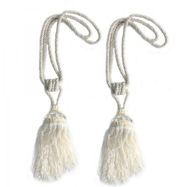 White Tassel with Crystal - pair