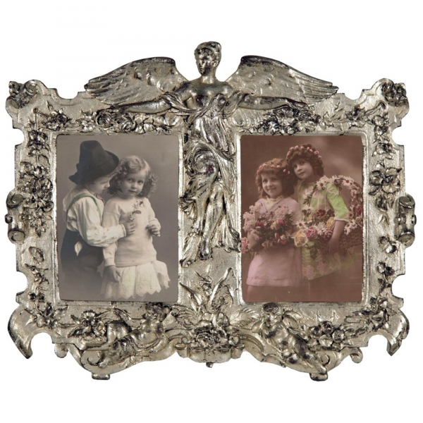 Art Nouveau Silver Double Photo Frame