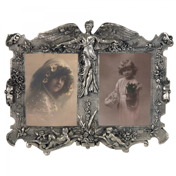 Art Nouveau Double Photo Frame Silver Gilt Leaf