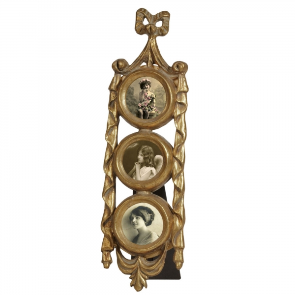 Gold Gilt Leaf Photo Frame - 3 circles