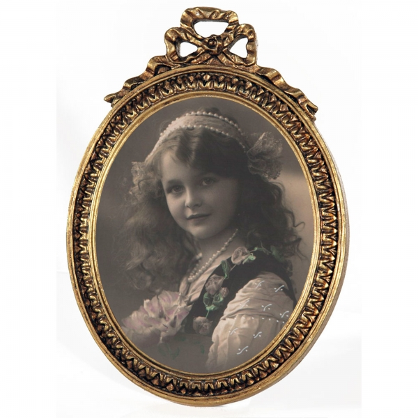 Gold Gilt Leaf Oval Photo Frame Swags and Ribbons