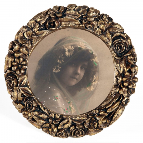 Gold Gilt Leaf Round Photo  Frame