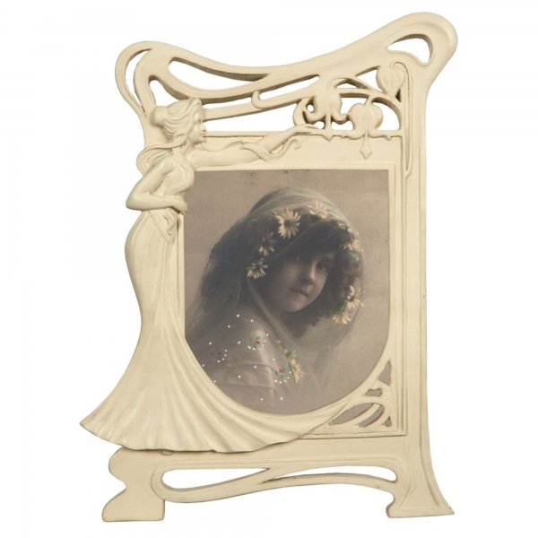Art Nouveau Cream Clay Paint Photo Frame