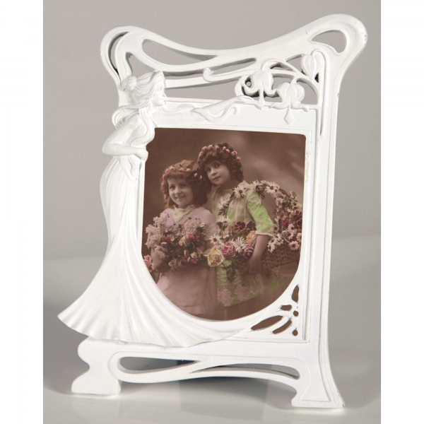Art Nouveau White Clay Paint Photo Frame