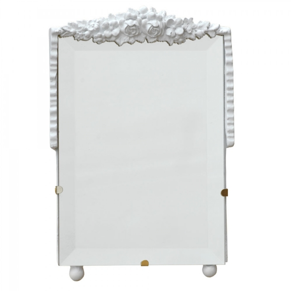 Barbola White Clay Paint Decorative Table or Wall Bedroom Mirror