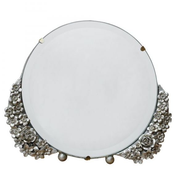 Barbola Floral Champagne Silver Round Decorative Table or Wall Mirror