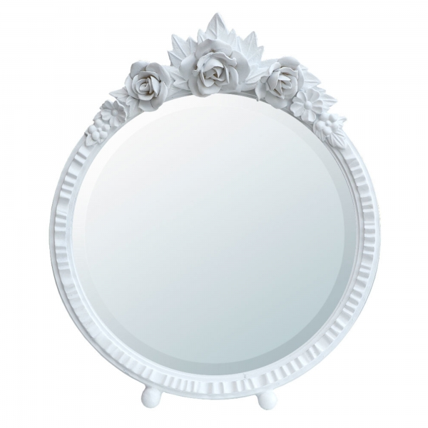 Barbola Floral White Chalk Paint Round Decorative Table or Wall Mirror