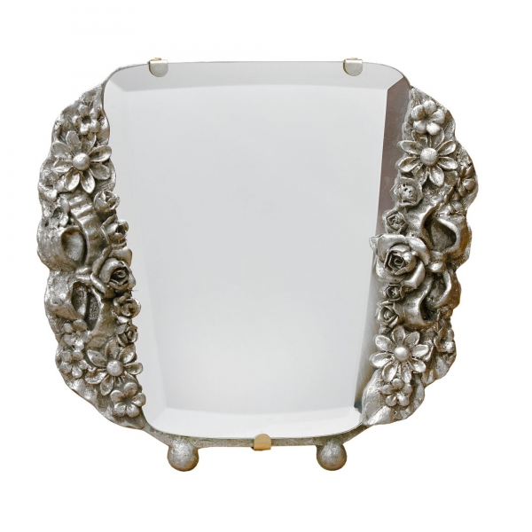 Barbola Floral Champagne Silver Gilt Leaf Decorative Table or Wall Mirror