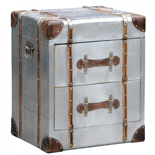 Industrial Aluminium Bedside Table - Silver