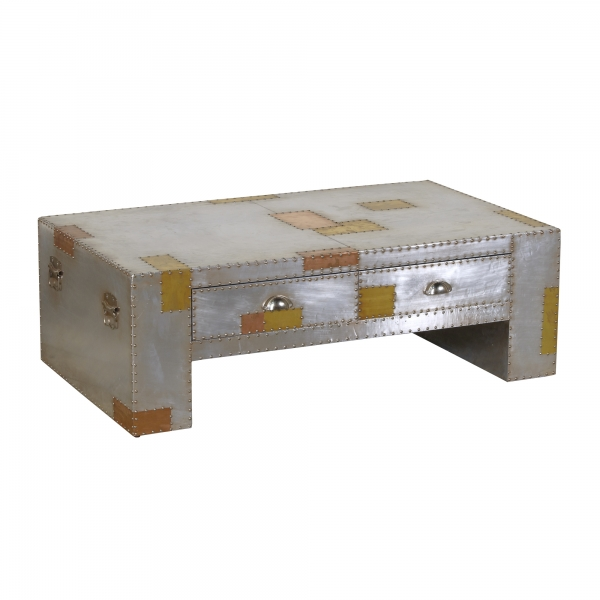 Industrial Aluminium Coffee Table - Silver and Copper