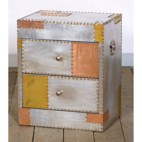 Industrial Aluminium Bedside Table - Silver and Copper