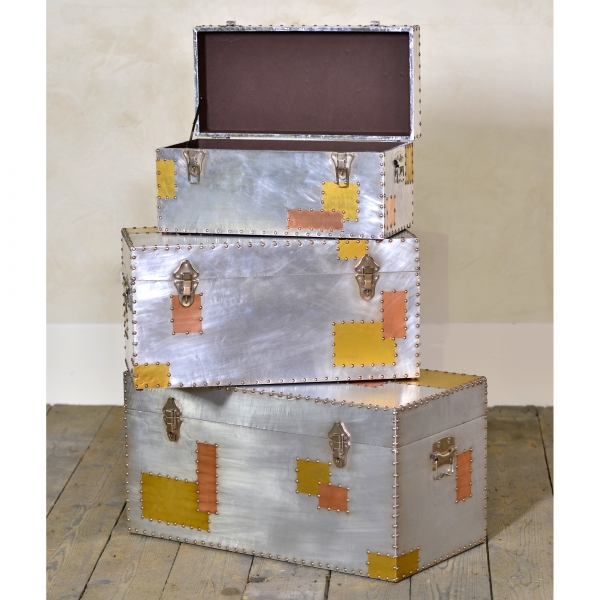 Industrial Aluminium Trunk Set - Silver and Copper