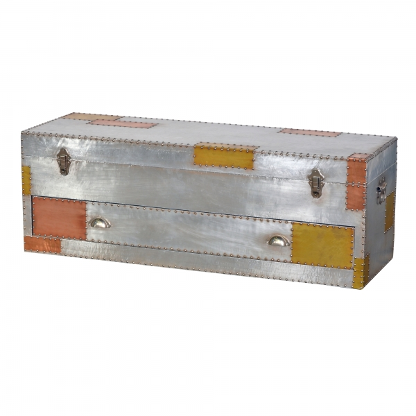Industrial Aluminium Storage Trunk - Silver and Copper