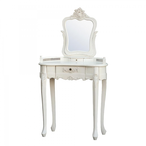 Boudoir Provence Dressing Table with Mirror - Antique White