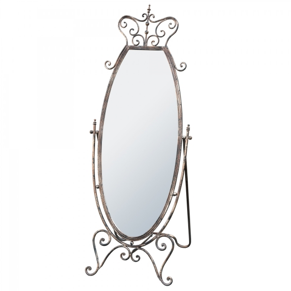 Iron Antique Silver Full Length Freestanding Cheval Bedroom Mirror