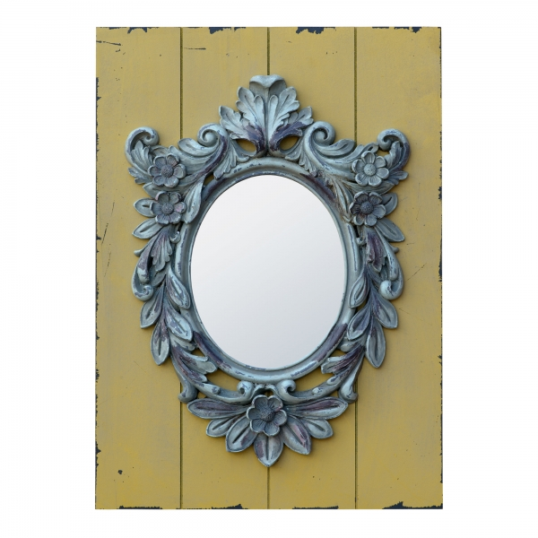 Rococo Style Antique Grey Oval Decorative Wall Mirror on Distressed Wood