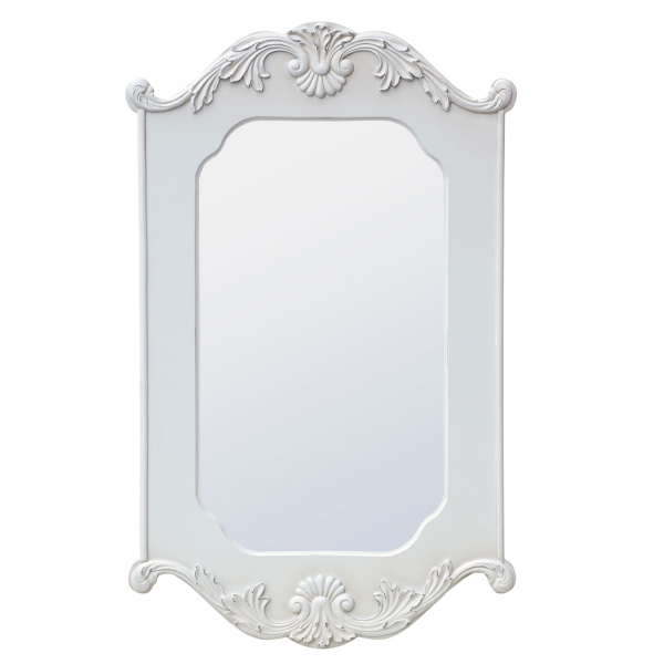 Boudoir Provence Rococo Style Antique White Decorative Wall Bedroom Mirror