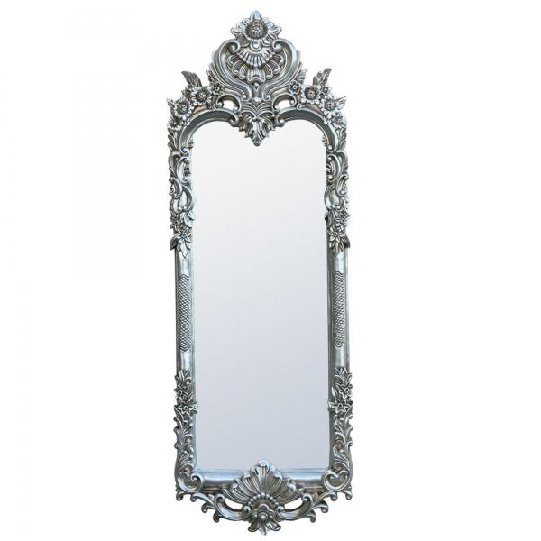 Rococo Antique Style Silver Tall Slim Decorative Wall Bedroom Mirror