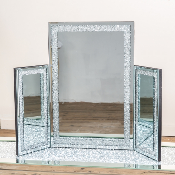 Crushed Diamond Triple Dressing Table Mirror