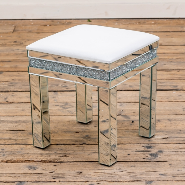 Crushed Diamond Mirrored Stool