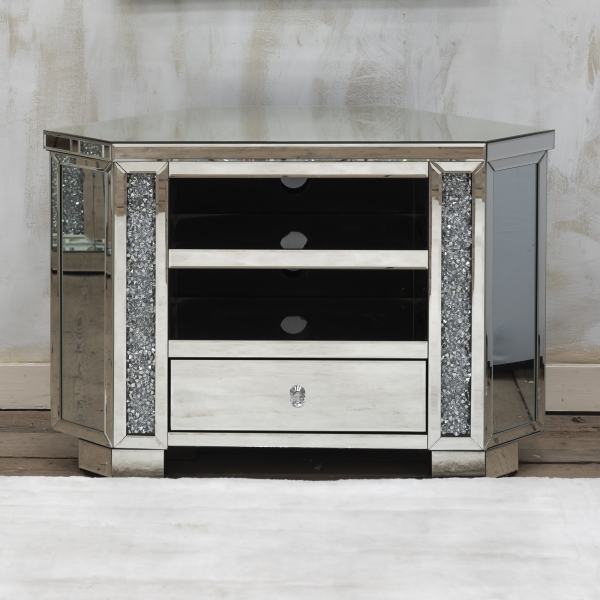 VenetianCrushed Diamond Mirrored TV Media Unit With Shelf and drawers - EXTRA PACKING