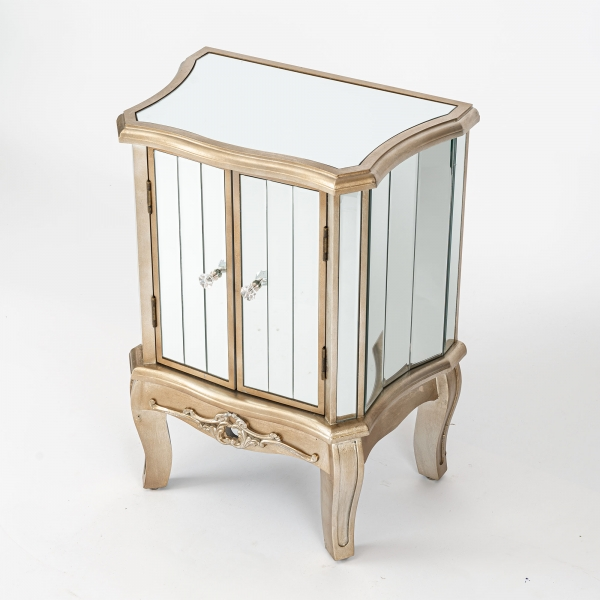 Annabelle Mirrored Sideboard Cabinet - Champagne Silver Gilt Leaf