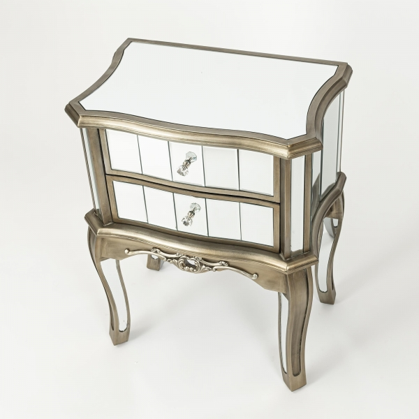 Annabelle Mirrored Bedside Table - Antique Silver