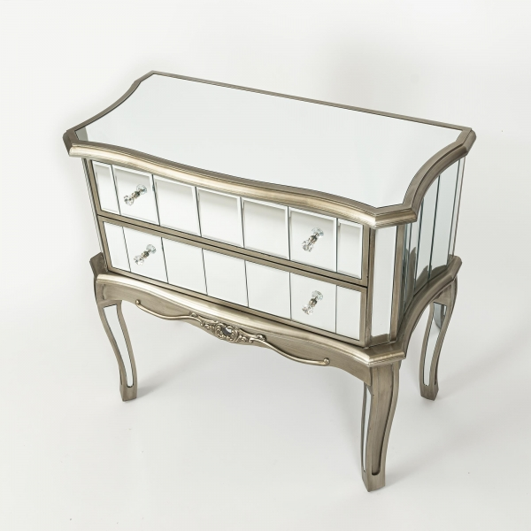 Annabelle Mirrored Chest of Drawers - Antique Silver
