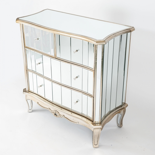 Annabelle Mirrored Chest of Drawers - Champagne Silver Gilt Leaf