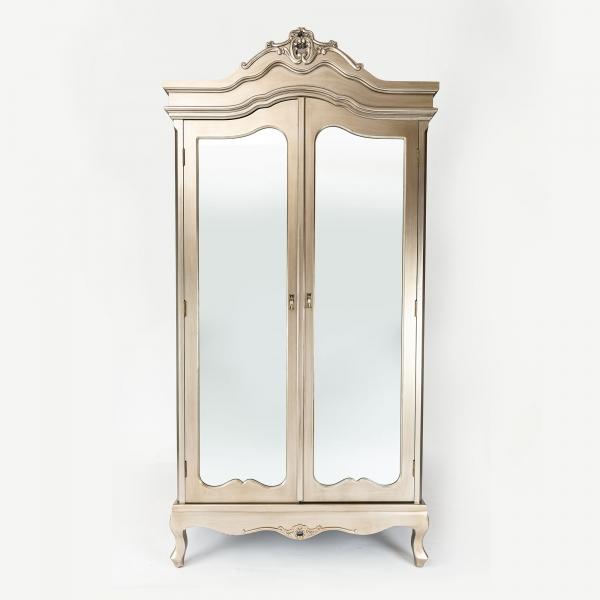 Annabelle Mirrored Wardrobe - Antique Silver