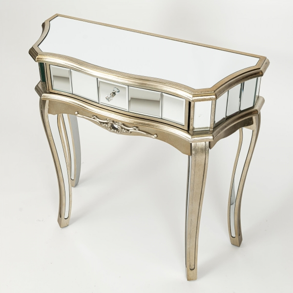 Annabelle Mirrored Dressing Table - Champagne Silver Gilt Leaf