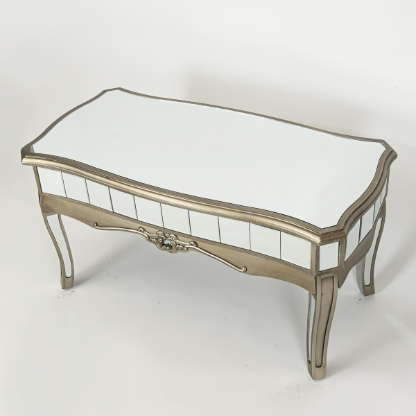 Annabelle Mirrored Coffee Table - Antique Silver