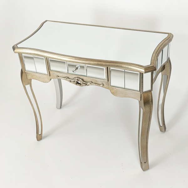Annabelle Mirrored Console Dressing Table - Champagne Silver Gilt Leaf
