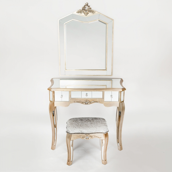 Annabelle Mirrored Dressing Table Set - Champagne Silver Gilt Leaf