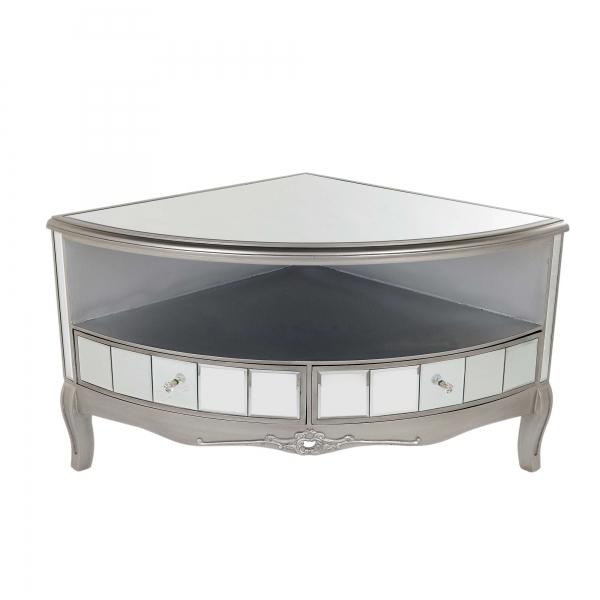 Annabelle Mirrored Corner TV Media Unit - Antique Silver