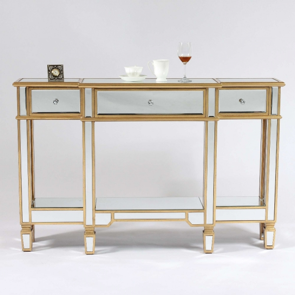 Genevieve Gold Mirrored Display Console