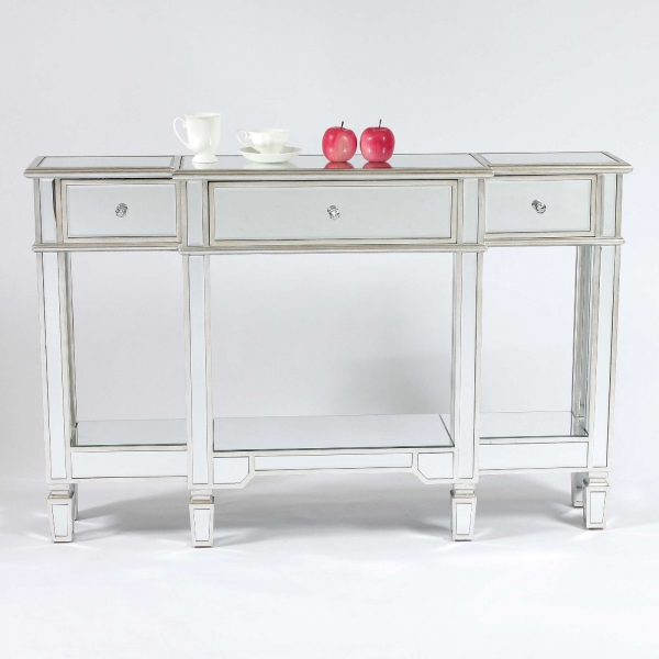 Genevieve Silver Mirrored Display Console