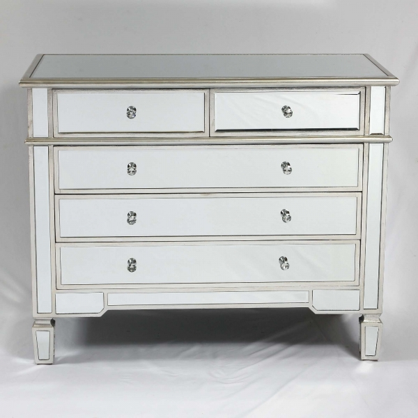 Genevieve Silver Two Over Three Chest of Drawers