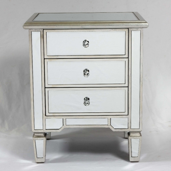 Genevieve Silver Three Drawer Mirrored Bedside