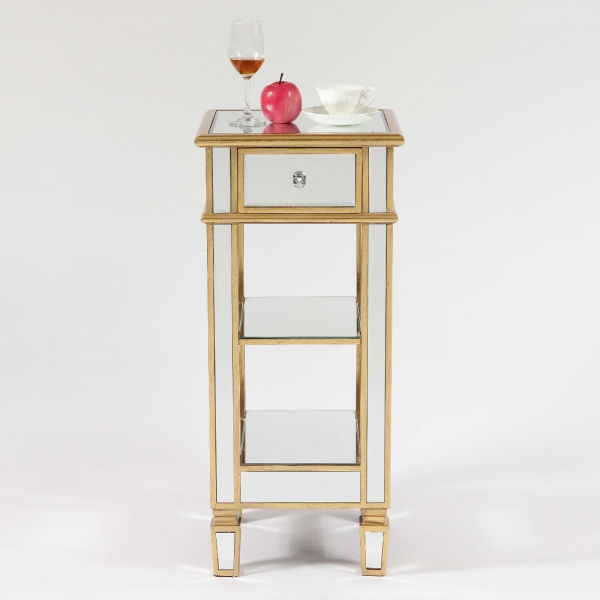 Genevieve Gold One Drawer Mirrored Cocktail Table