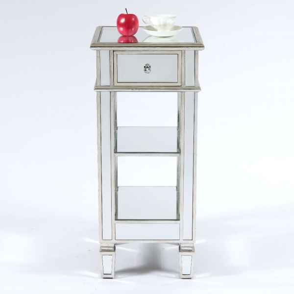 Genevieve Silver One Drawer Mirrored Cocktail Table